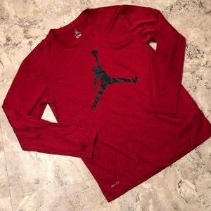 Jordan Jumpman Red Black Dri-Fit Long Sleeve Boy L